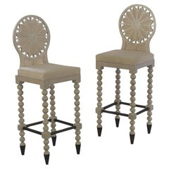 Q1&Q2 Hand Carved Stool with Upholstered Seat, Bleached Finish, Metal Footrest