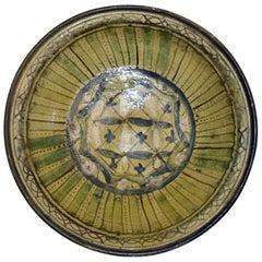 Qajar Art, Ceramic Plate Green and Blue, circa 1900