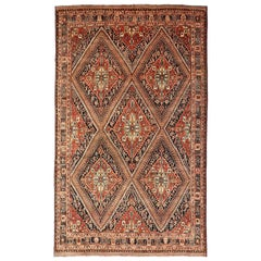 Qashqai Persian Carpet circa 1920 in Pure Wool and Vegetable Dyes