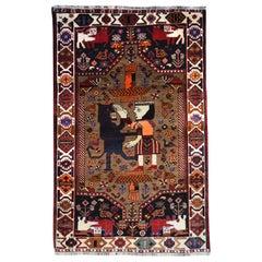 Qashqai Persian Carpet Featuring King Bahram and the Lion, circa 1940
