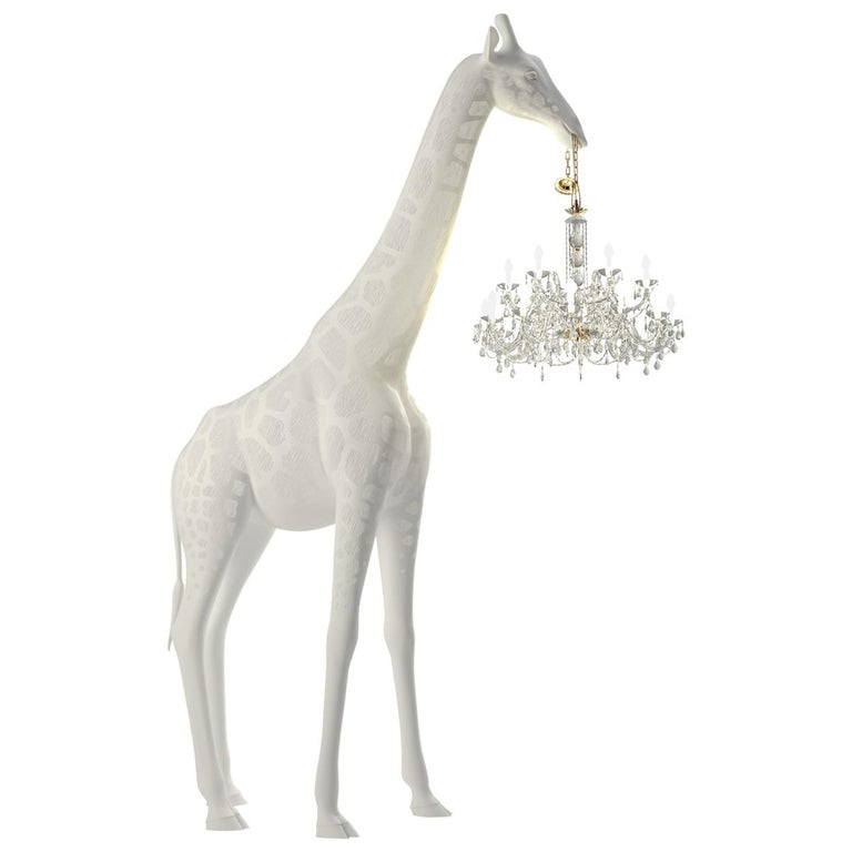 Modern 13 Foot White Giraffe Indoor or Outdoor Chandelier Lamp By Marcantonio For Sale