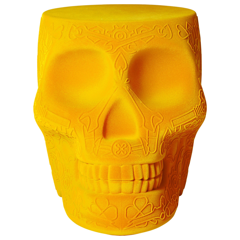 Modern Velvet Mexican Calavera Skull Stool or Side Table By Studio Job