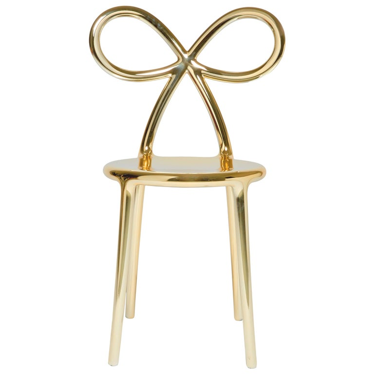 For Sale: Gold Qeeboo Ribbon Chair Metal Finish by Nika Zupanc