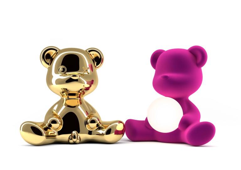 Modern Velvet Yellow Sculptural Teddybear Table or Floor Lamp For Sale 61