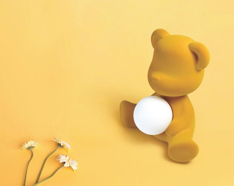 Modern Velvet Yellow Sculptural Teddybear Table or Floor Lamp For Sale 62