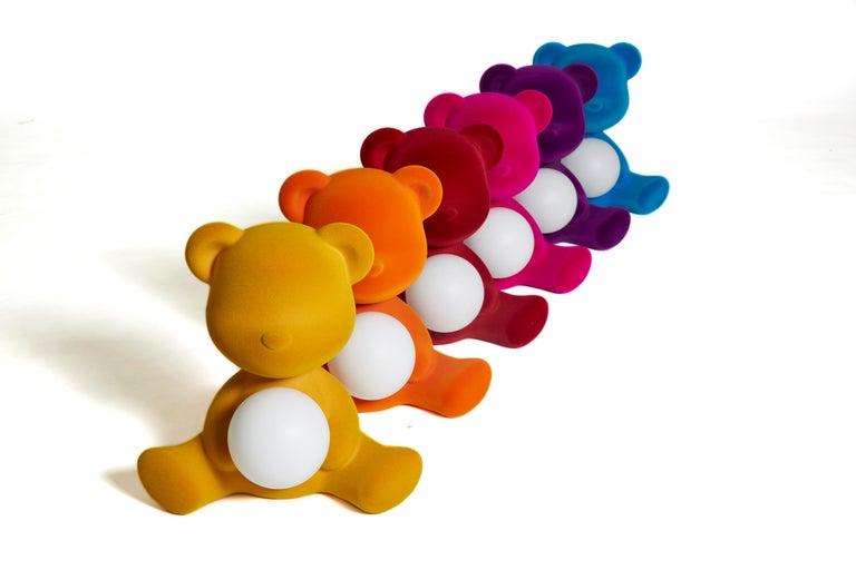 Modern Velvet Yellow Sculptural Teddybear Table or Floor Lamp For Sale 63