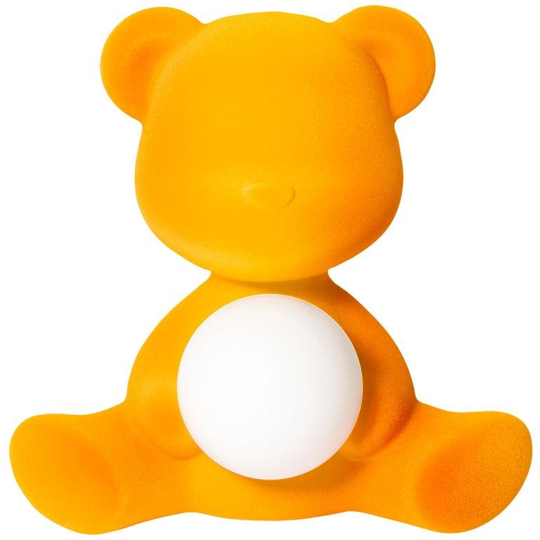 For Sale: Gold (Dark Gold) Modern Velvet Yellow Sculptural Teddybear Table or Floor Lamp