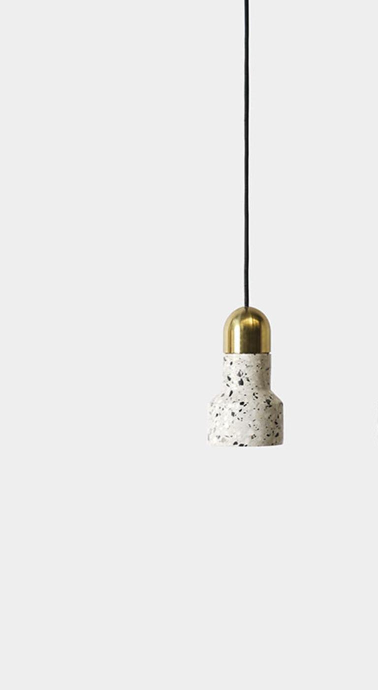 Industrial 'Qie' Black Terrazzo Pendant Lamp by Bentu Design For Sale