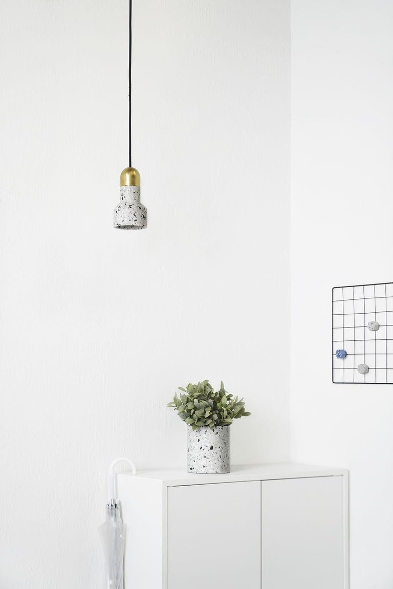 Chinese 'Qie' Black Terrazzo Pendant Lamp by Bentu Design For Sale