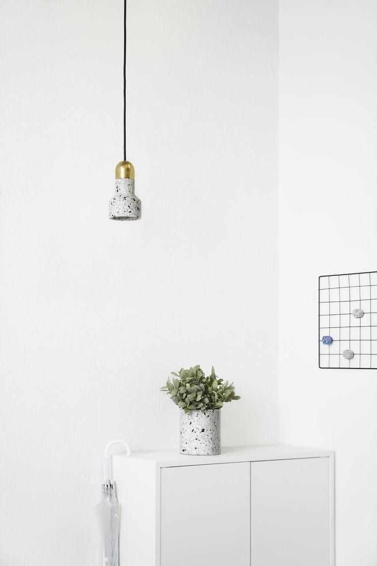 Industrial 'Qie' Blue Terrazzo Pendant Lamp by Bentu Design For Sale
