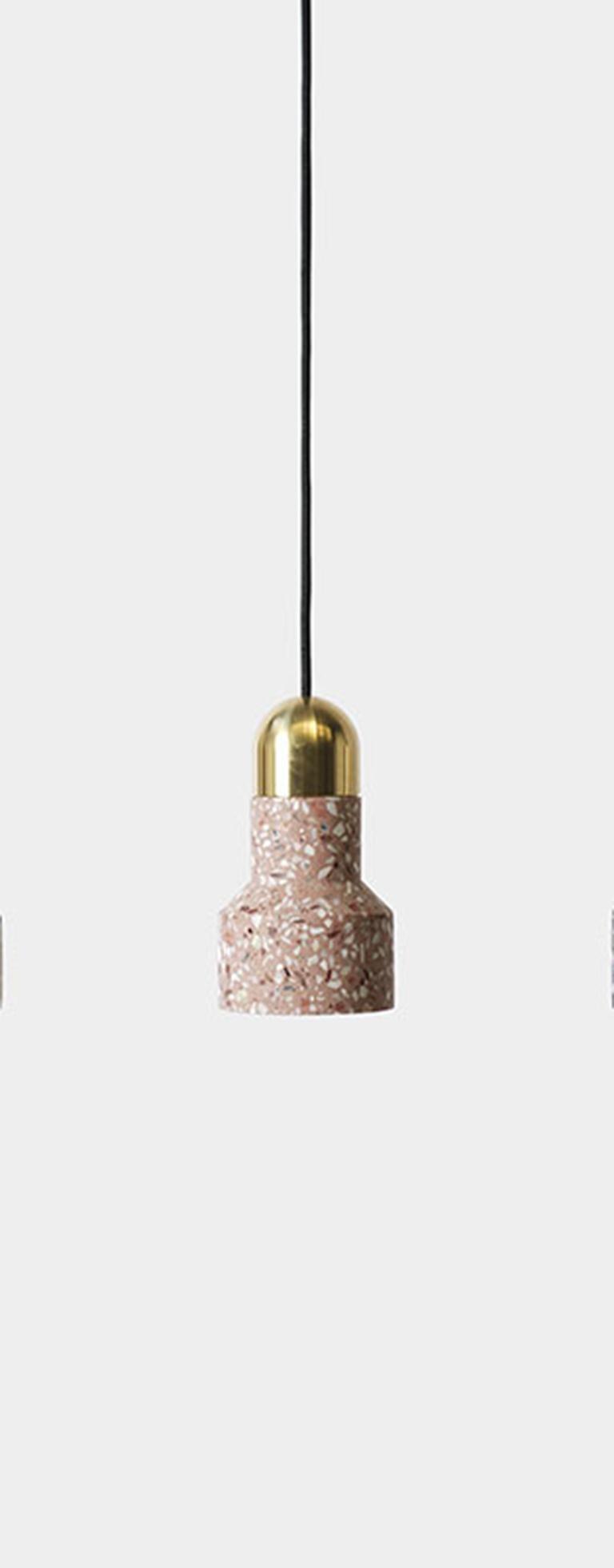 Contemporary 'Qie' White Terrazzo Pendant Lamp by Bentu Design For Sale