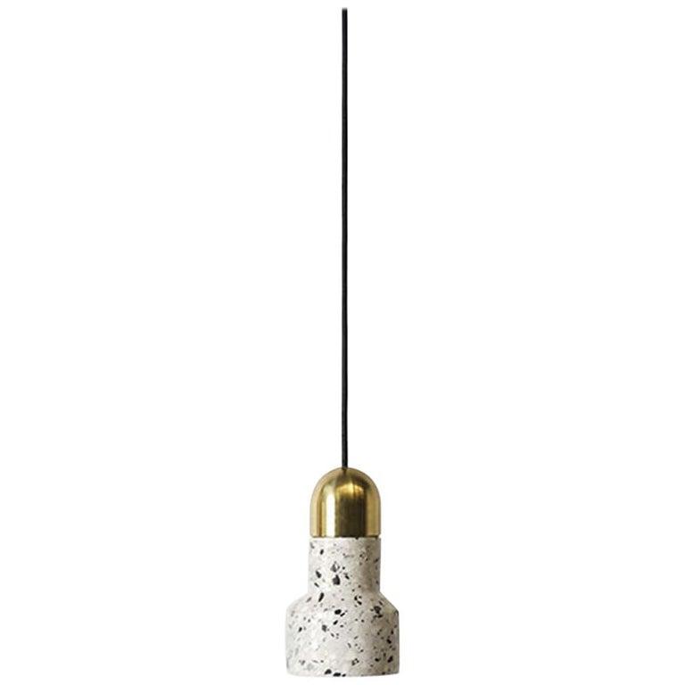 'Qie' White Terrazzo Pendant Lamp by Bentu Design For Sale