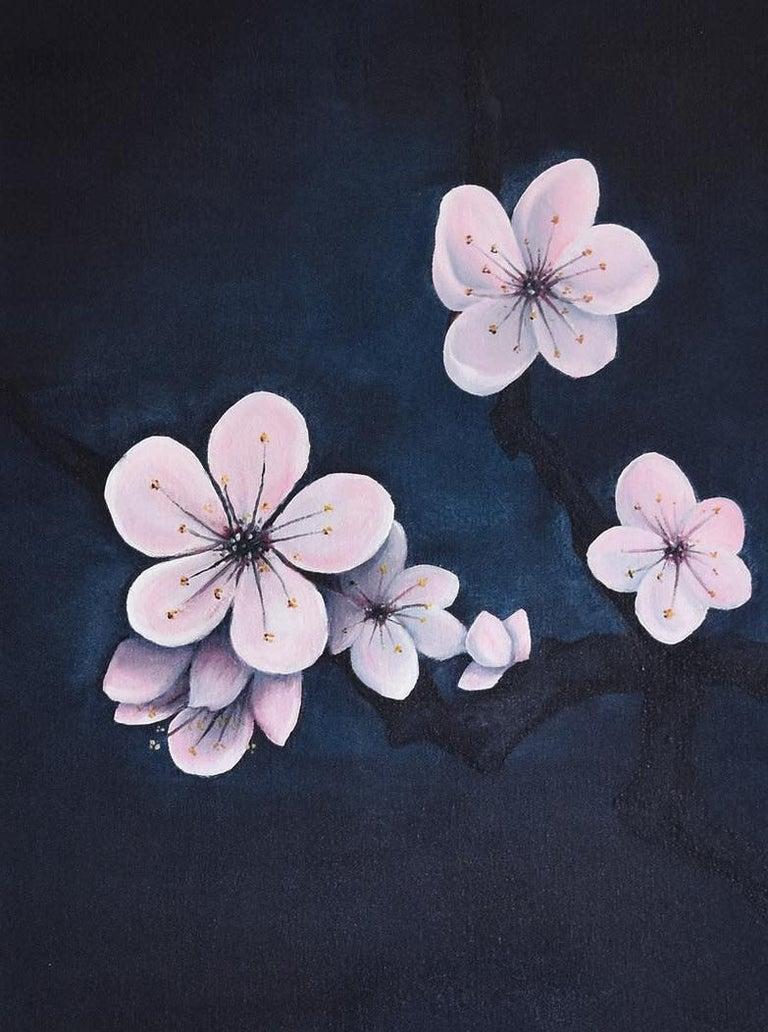 Prunus Mume, Oil & acrylic on canvas, 70cm x 60cm, 2020 - Painting by Qijun Li