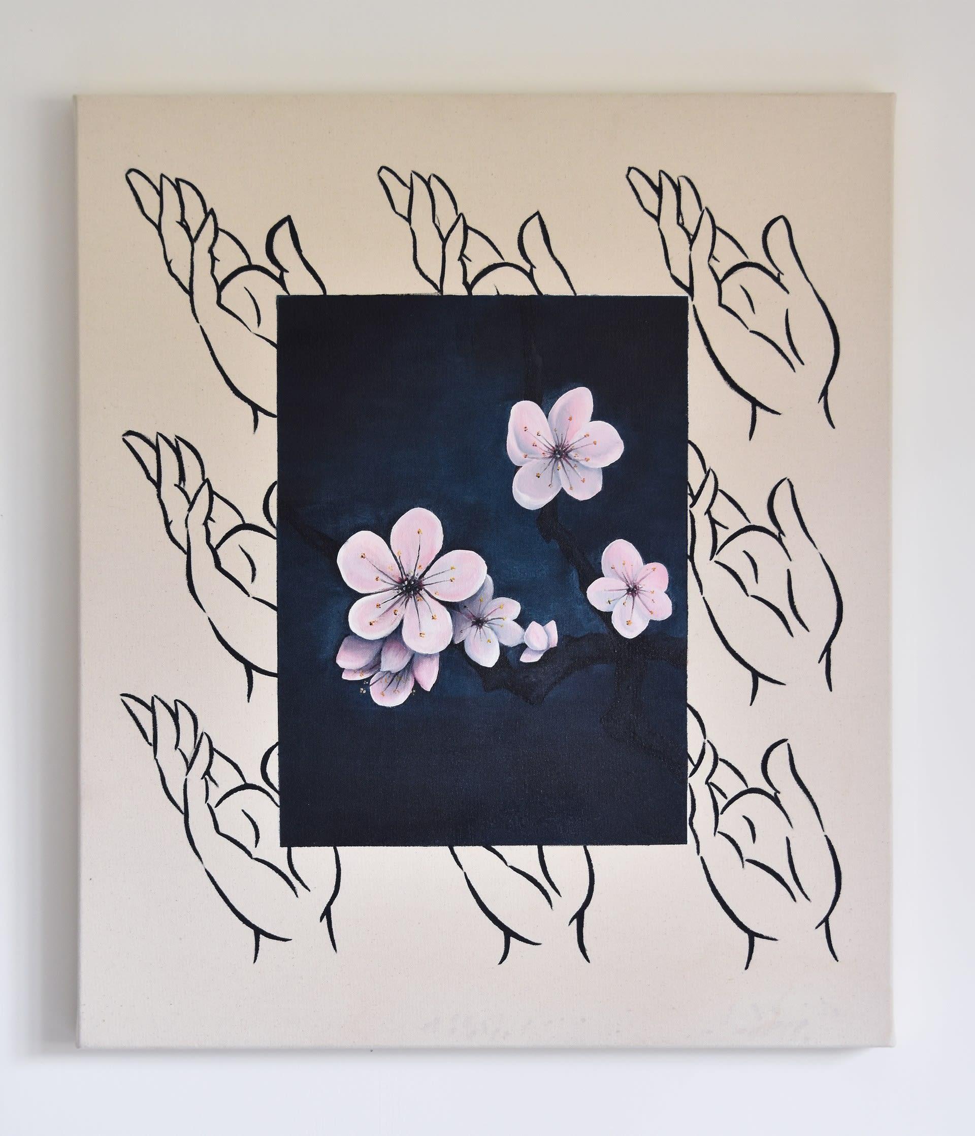 Prunus Mume, Oil & acrylic on canvas, 70cm x 60cm, 2020