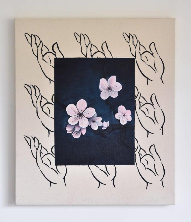 Qijun Li Still-Life Painting - Prunus Mume, Oil & acrylic on canvas, 70cm x 60cm, 2020