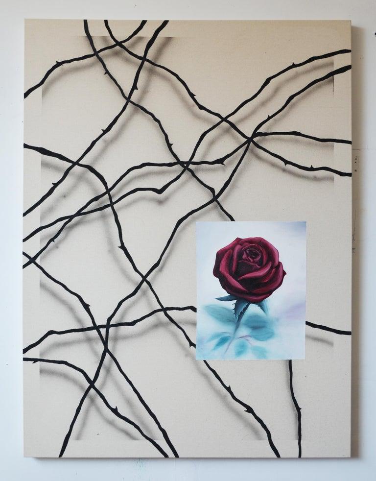 Qijun Li Still-Life Painting - Rose on a bed of thorns, Oil & acrylic on canvas, 120cm x 90cm, 2019