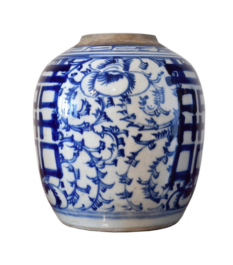 Qing Chinese Porcelain Blue And White Shuang Xi Jar With Double Hiness