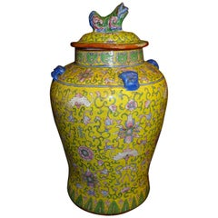Qing Dynasty 19th Century Rosefamily Jaune Blue Pink Green Ceramic Vase With Lid