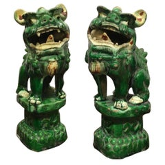 Qing Dinasty Mid-20th Century Pair Ceramic Green Enameled Pho Dogs China Export