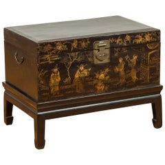 Qing Dynasty 19th Century Black and Gold Blanket Chest with Chinoiserie Painting