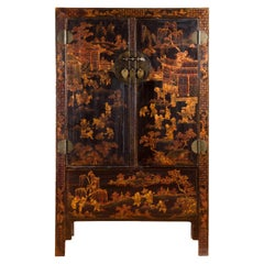 Qing Dynasty 19th Century Black Lacquer Cabinet with Gilt Chinoiserie Decor