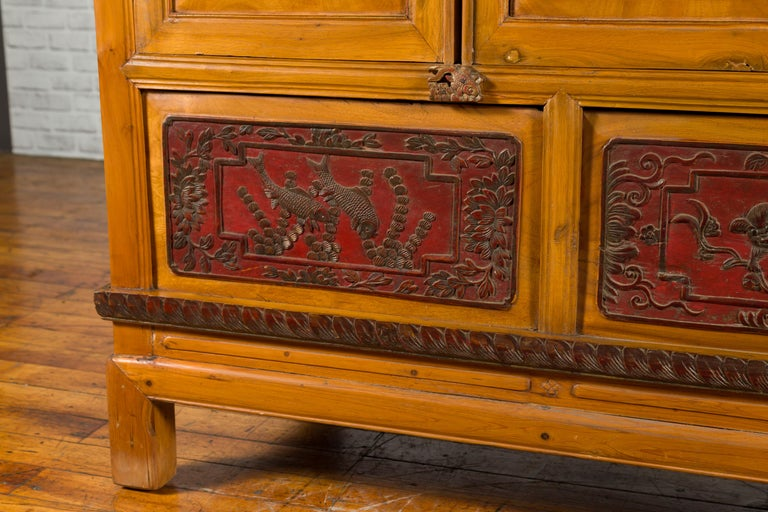 Qing Dynasty 19th Century Chinese Hand Carved Armoire with Gilt Painted Panels For Sale 6