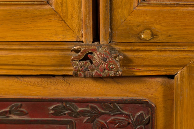 Qing Dynasty 19th Century Chinese Hand Carved Armoire with Gilt Painted Panels For Sale 7