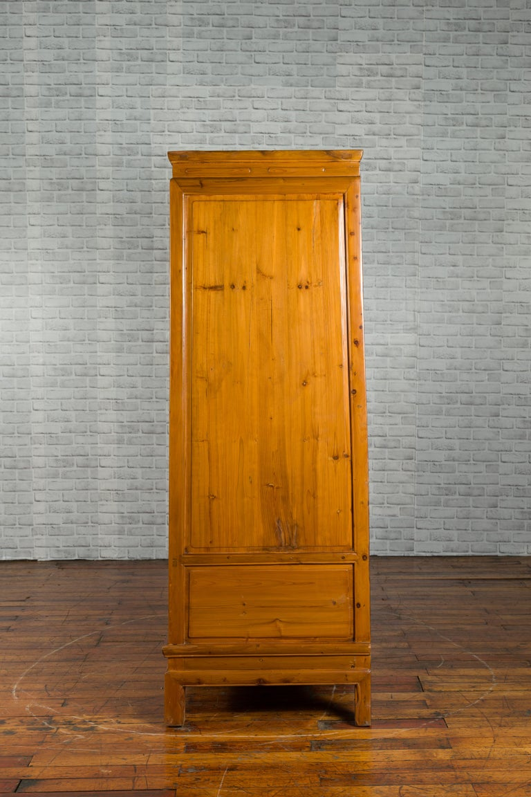 Qing Dynasty 19th Century Chinese Hand Carved Armoire with Gilt Painted Panels For Sale 8