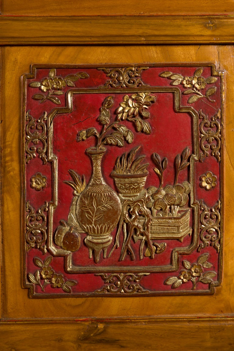 Qing Dynasty 19th Century Chinese Hand Carved Armoire with Gilt Painted Panels For Sale 11