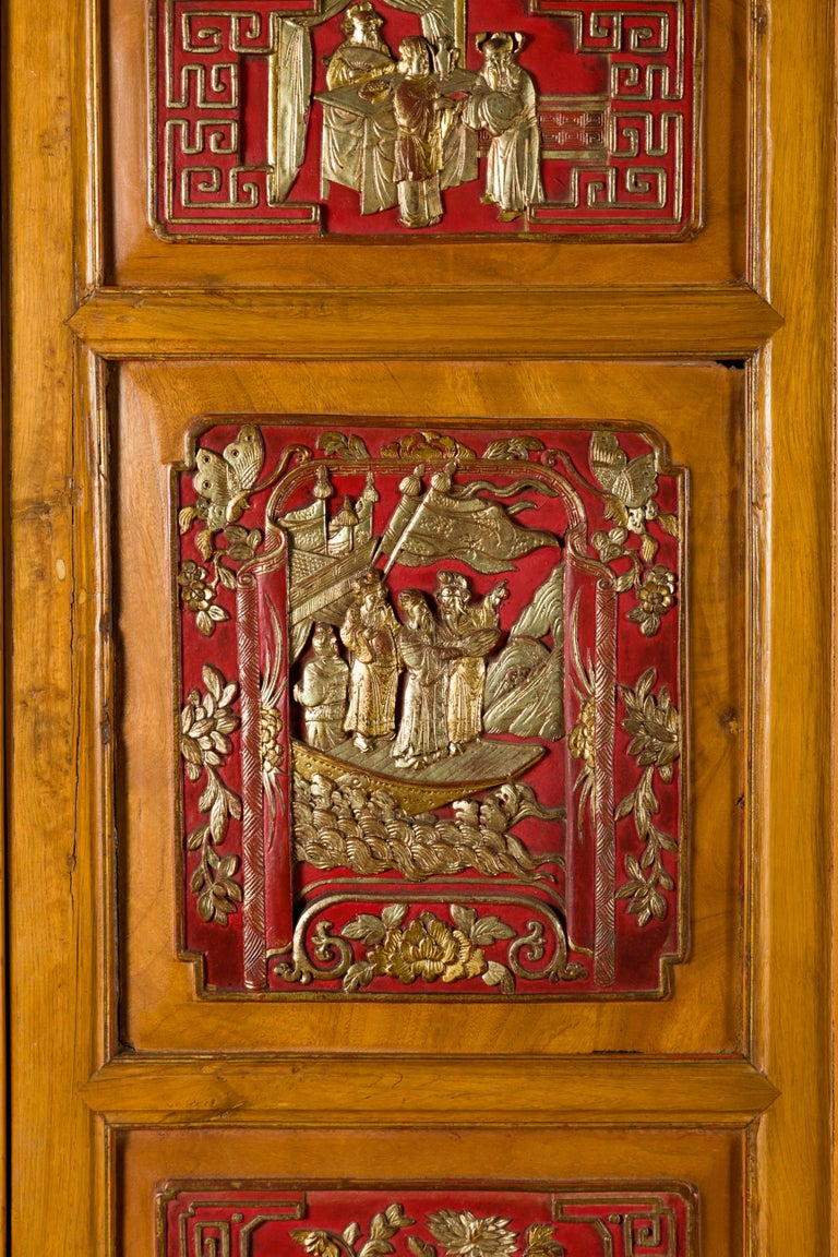 Qing Dynasty 19th Century Chinese Hand Carved Armoire with Gilt Painted Panels For Sale 13