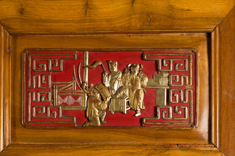Qing Dynasty 19th Century Chinese Hand Carved Armoire with Gilt Painted Panels For Sale 2