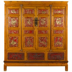 Qing Dynasty 19th Century Chinese Hand Carved Armoire with Gilt Painted Panels