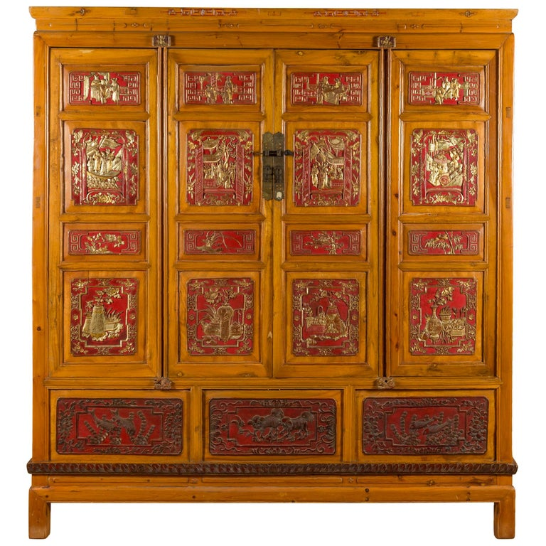 Qing Dynasty 19th Century Chinese Hand Carved Armoire with Gilt Painted Panels For Sale