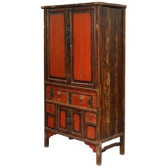 Qing Dynasty 19th Century Distressed Brown Lacquer Cabinet With Original Finish