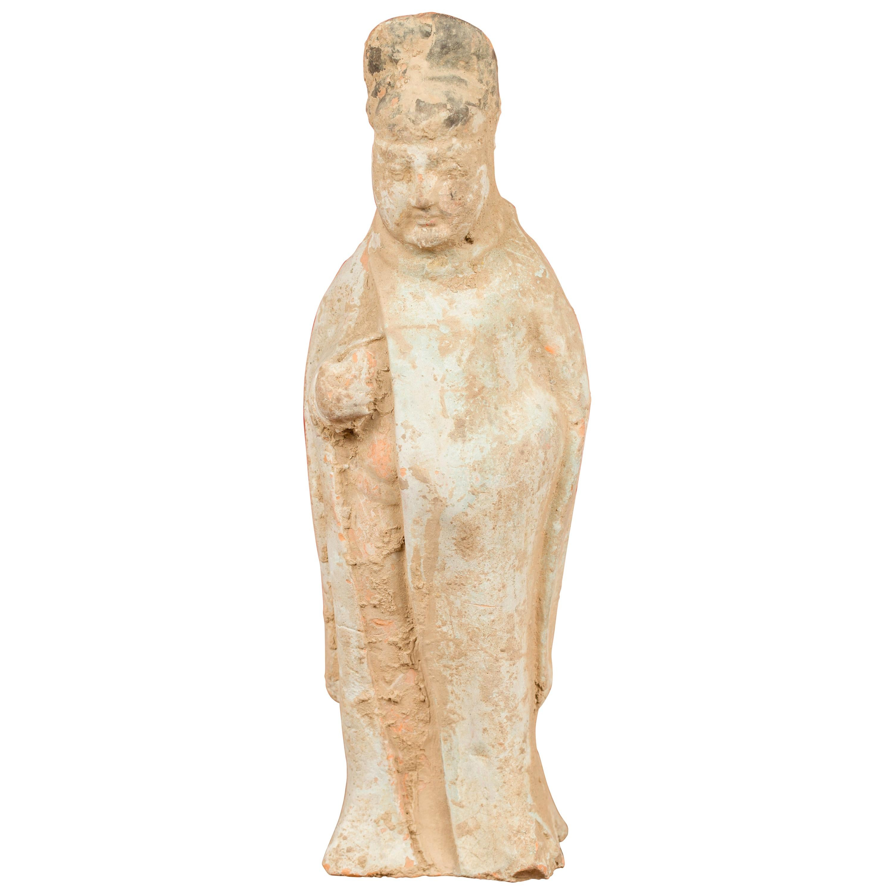 Qing Dynasty 19th Century Terracotta Burial Statue of a Chinese Official