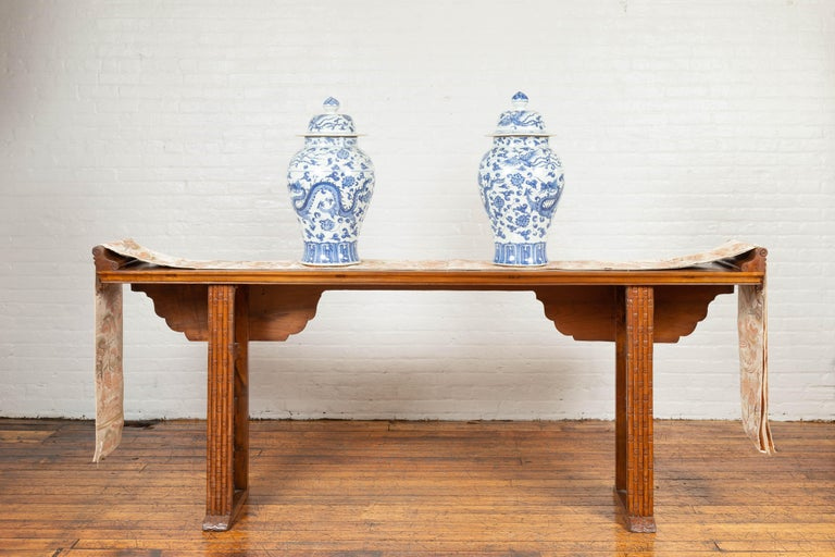 Chinese Qing Dynasty Altar Table with Bamboo Accents, Fretwork and Everted Flanges For Sale