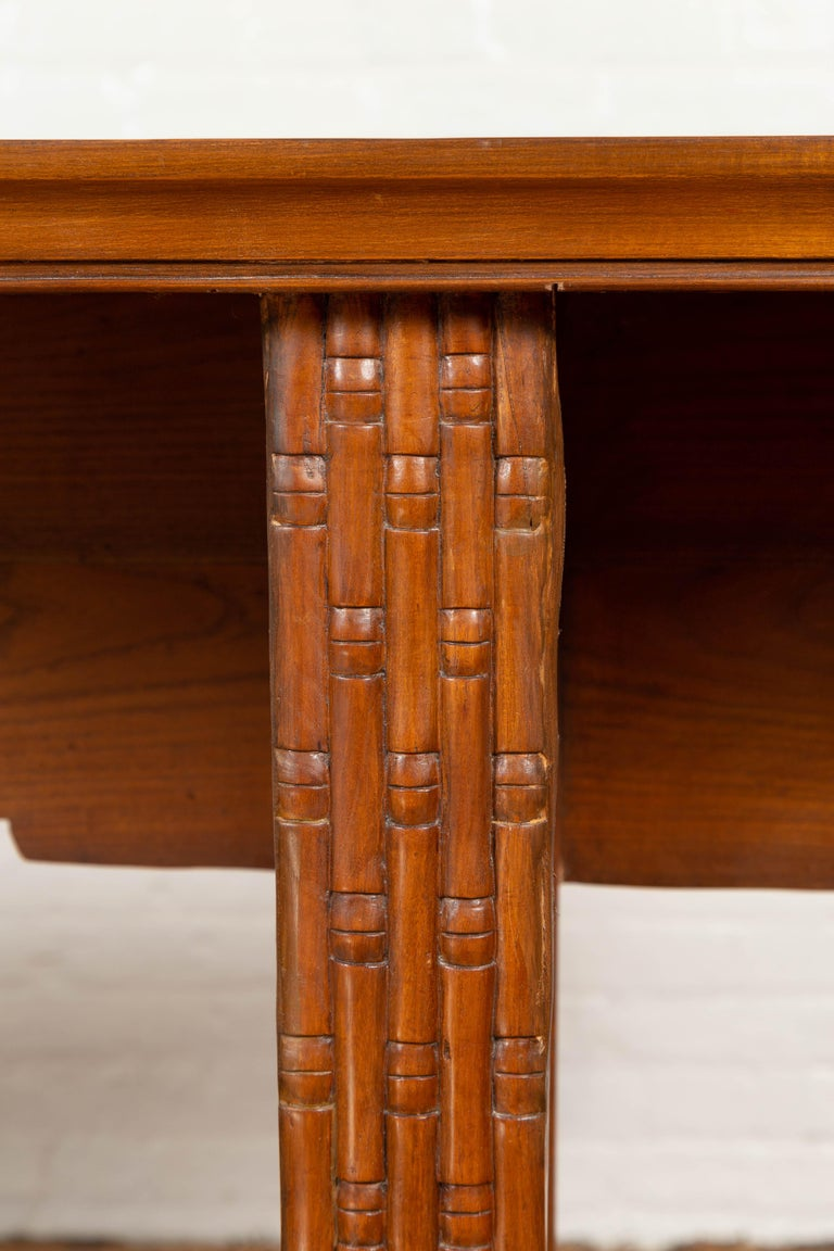 Qing Dynasty Altar Table with Bamboo Accents, Fretwork and Everted Flanges For Sale 1