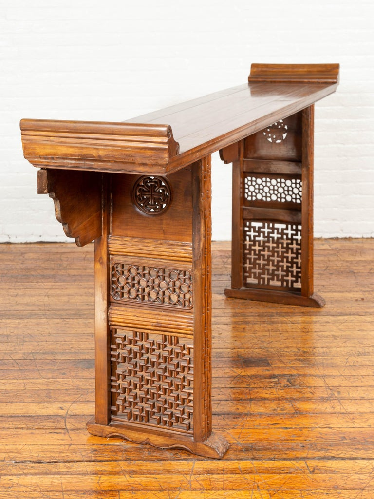 Qing Dynasty Altar Table with Bamboo Accents, Fretwork and Everted Flanges For Sale 2