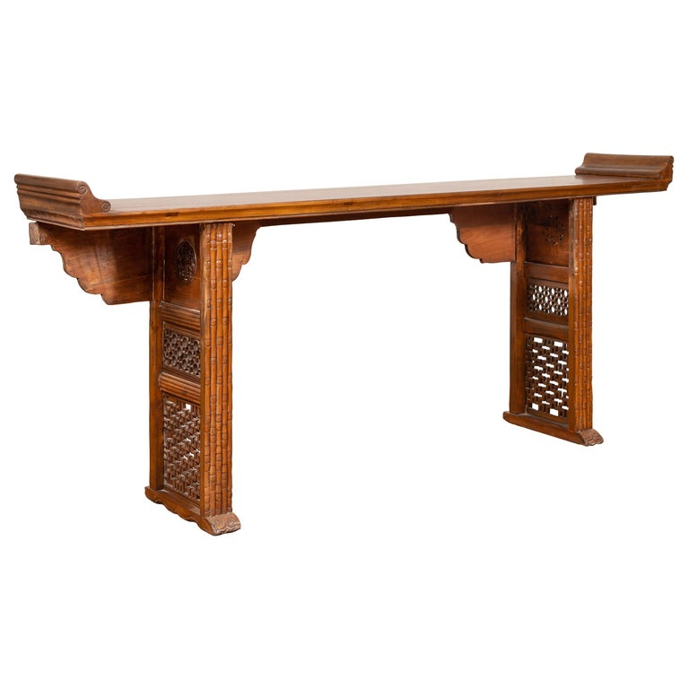 Qing Dynasty Altar Table with Bamboo Accents, Fretwork and Everted Flanges For Sale