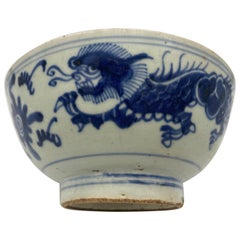 Qing Dynasty Blue and White Chinese Porcelain Bowl