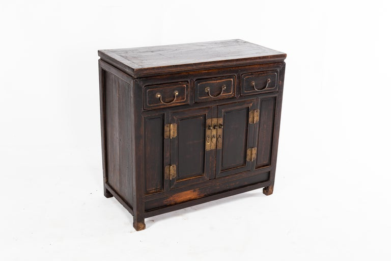 Chinese Qing Dynasty Cabinet with Three Drawers and a Pair of Doors For Sale