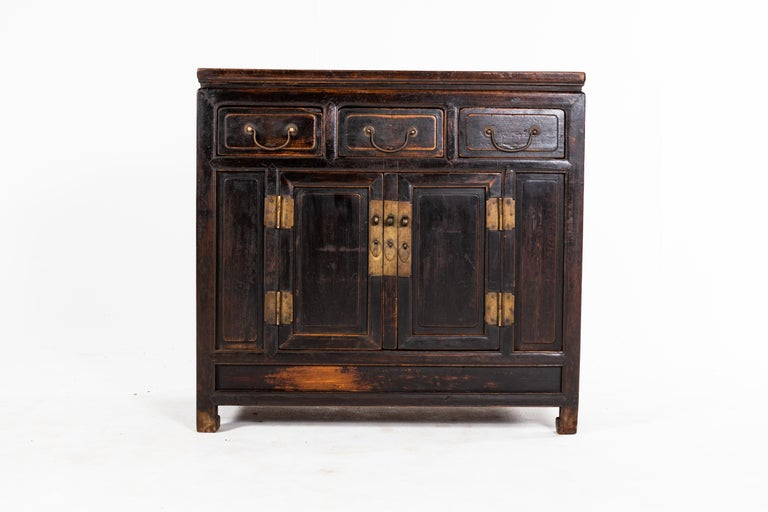 19th Century Qing Dynasty Cabinet with Three Drawers and a Pair of Doors For Sale