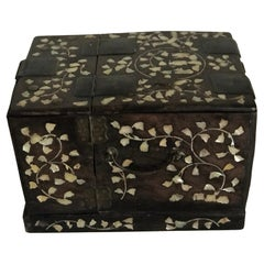Qing Dynasty Chinese Asian Mother of Pearl Folding Jewelry  Box