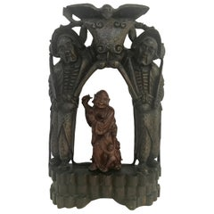 Qing Dynasty Chinese Buddhist Wood Carved Portable Shrine