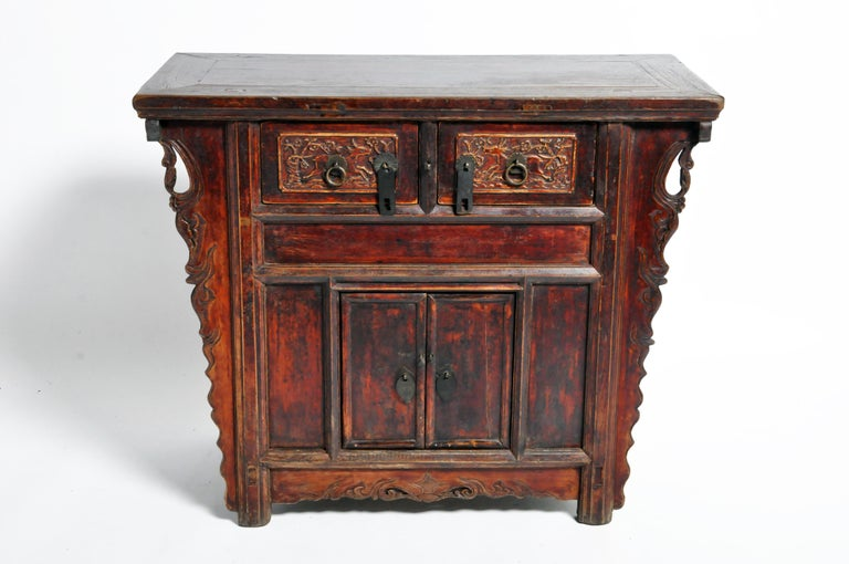 19th Century Qing Dynasty Chinese Butterfly Cabinet with Original Patina For Sale