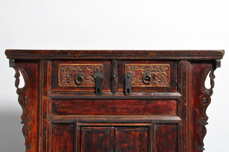 Elm Qing Dynasty Chinese Butterfly Cabinet with Original Patina For Sale