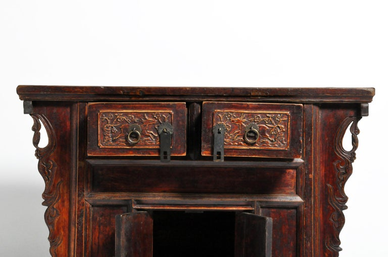 Qing Dynasty Chinese Butterfly Cabinet with Original Patina For Sale 3
