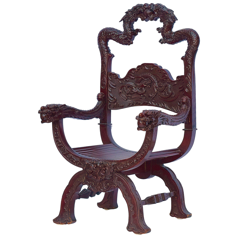 Qing Dynasty Chinese Dragon Throne Chair, circa 1890