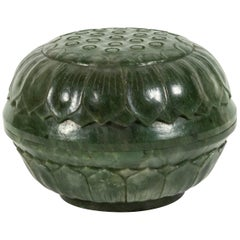 Qing Dynasty Chinese Spinach Jade Circular Box & Cover
