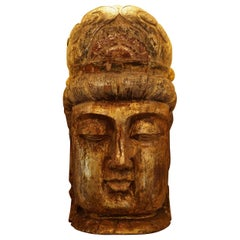 Qing Dynasty Chinese Wood Carved Gilt Figure of a Buddha Head